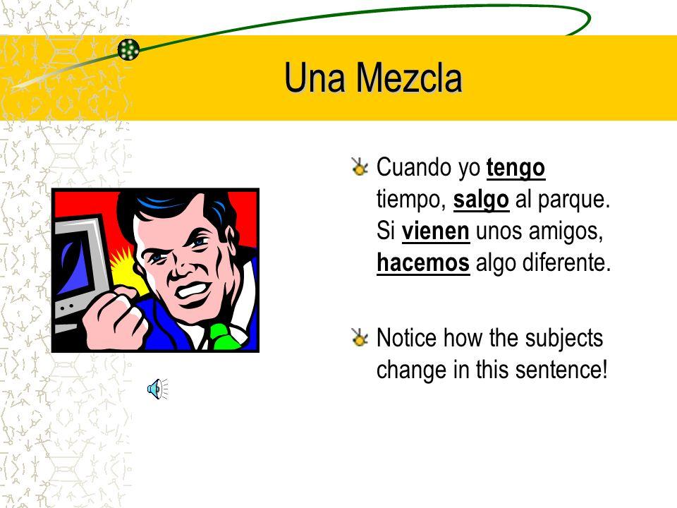 Una Mezcla (a mixture) Cuando yo _______ (tener) tiempo, _______ (salir) al parque.
