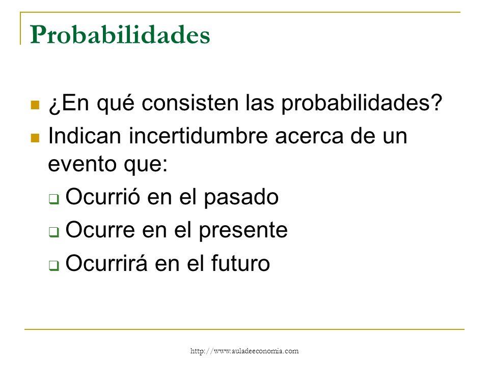 Probabilidades ¿En qué consisten las probabilidades? Indican incertidumbre acerca de un evento que: Ocurrió en el pasado Ocurre en el presente Ocurrir