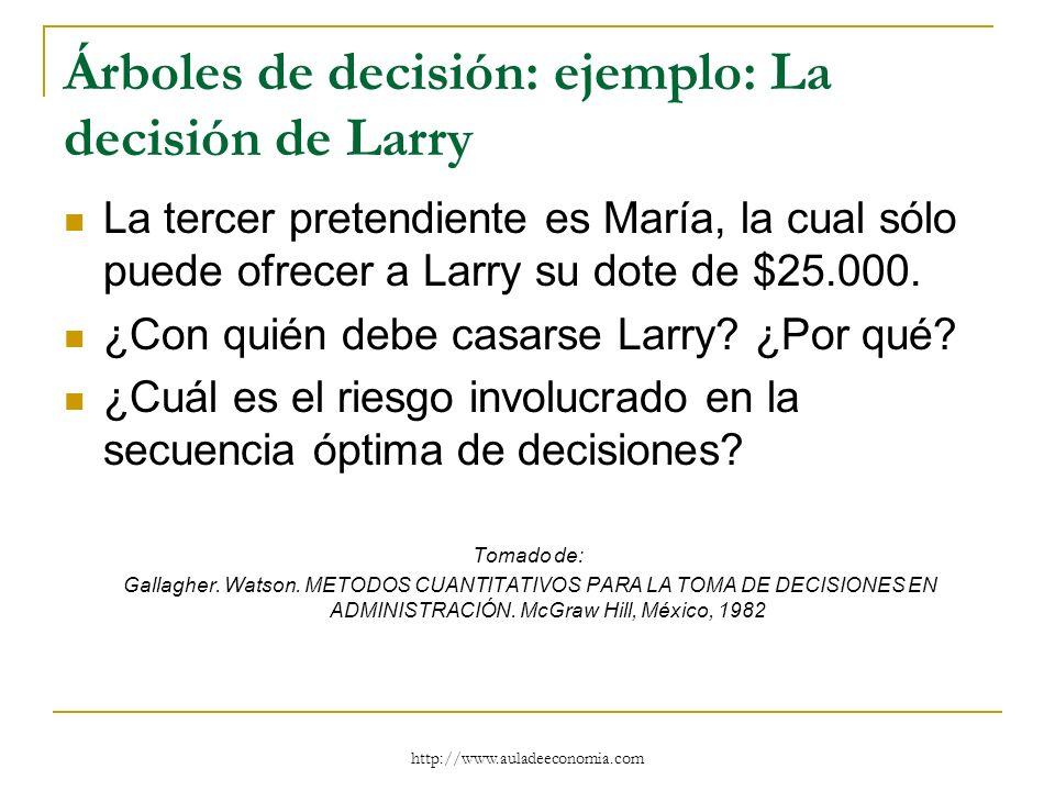 http://www.auladeeconomia.com Árboles de decisión: ejemplo: La decisión de Larry La tercer pretendiente es María, la cual sólo puede ofrecer a Larry s