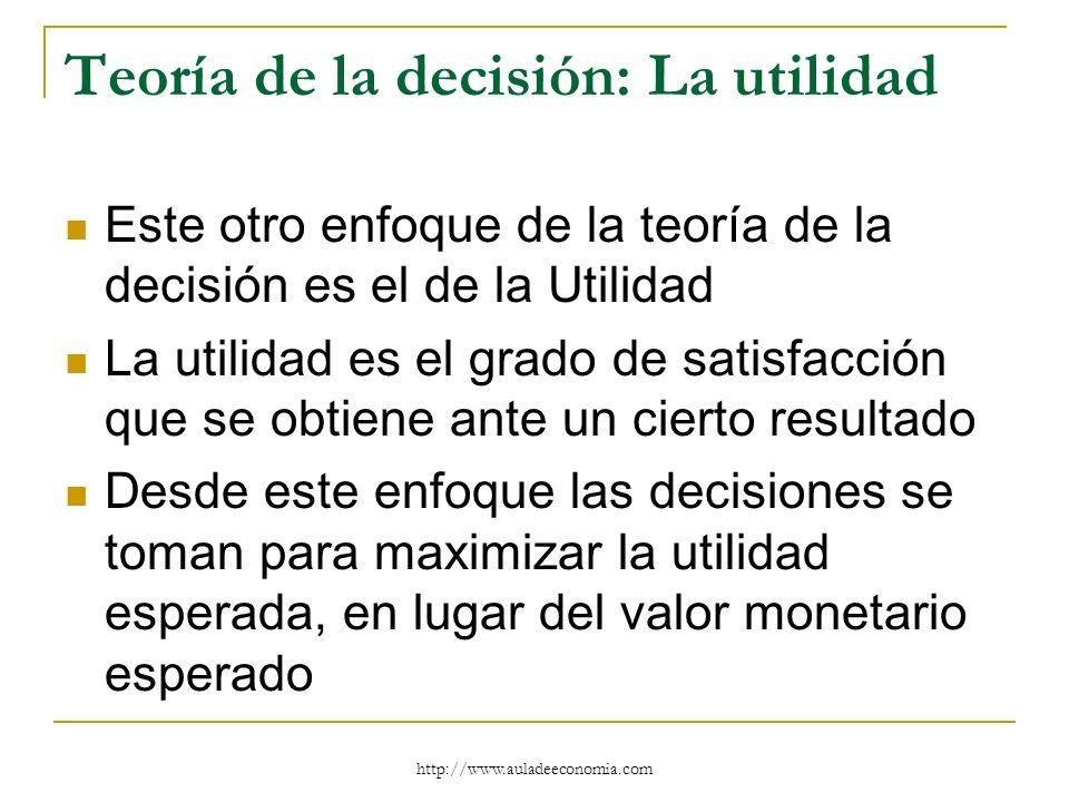 http://www.auladeeconomia.com Teoría de la decisión: La utilidad Este otro enfoque de la teoría de la decisión es el de la Utilidad La utilidad es el