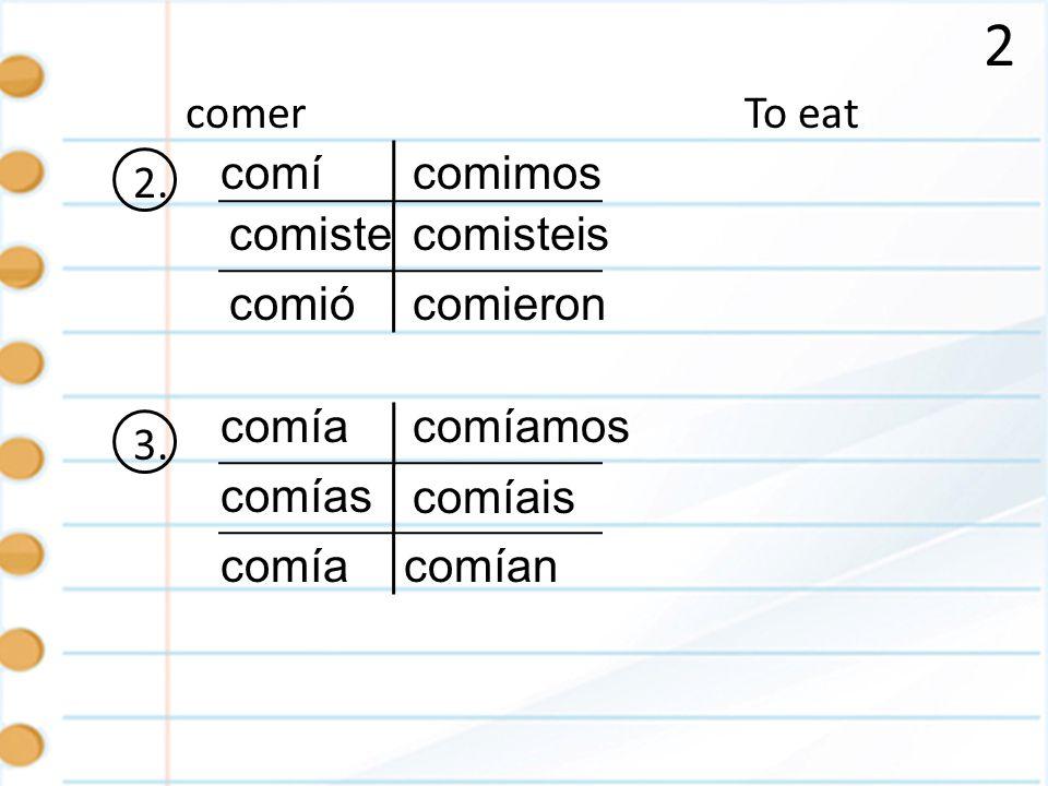 2 To eatcomer 2. comí comiste comió comimos comisteis comieron 3. comía comías comía comíamos comían comíais
