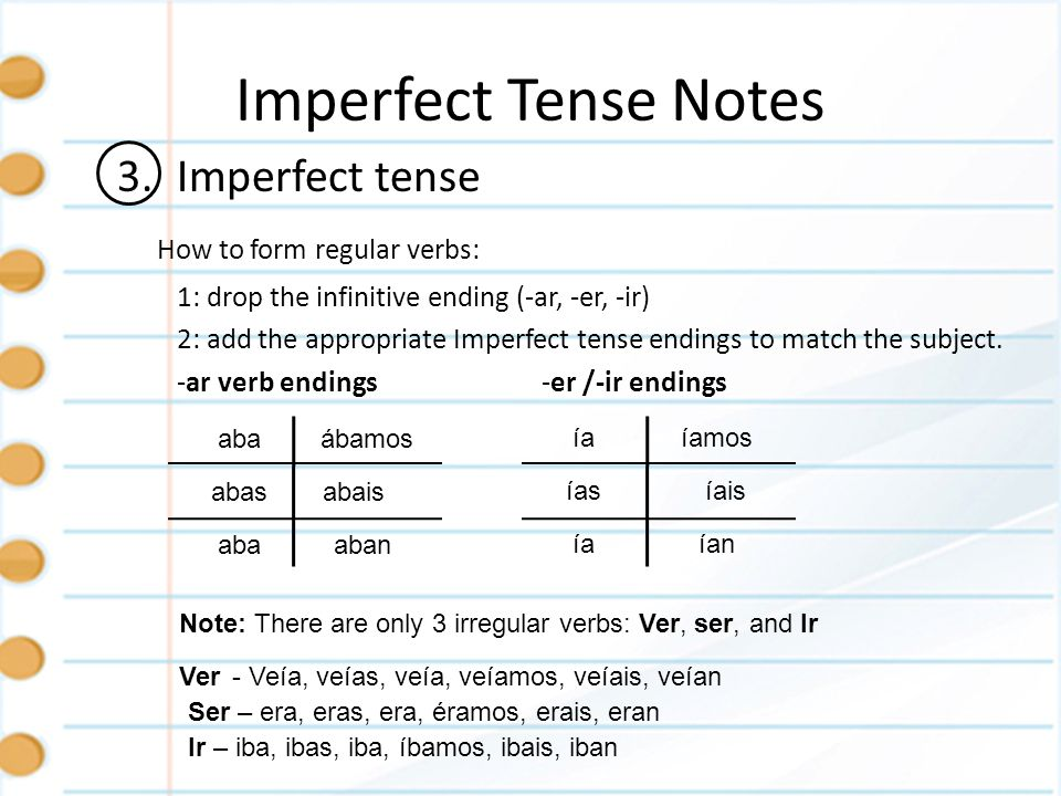 Imperfect Tense Notes 3. Imperfect tense How to form regular verbs: 1: drop the infinitive ending (-ar, -er, -ir) 2: add the appropriate Imperfect ten