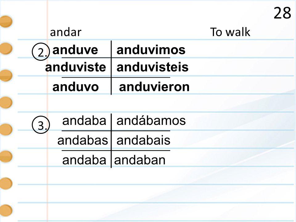 28 To walkandar 2. anduve anduviste anduvo anduvisteis anduvieron anduvimos 3. andaba andabas andaban andábamos andabais