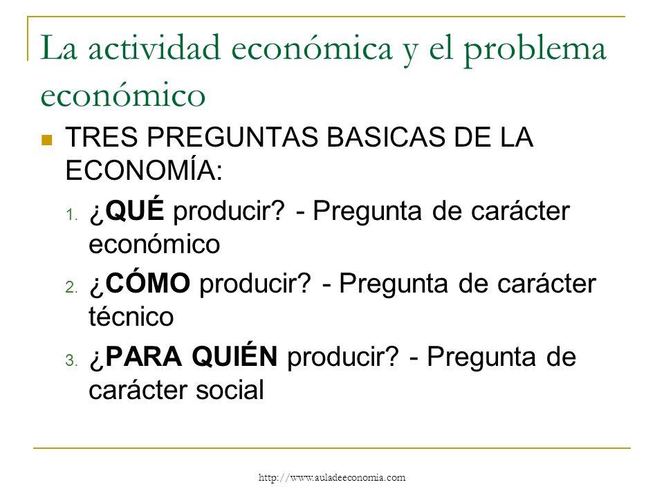http://www.auladeeconomia.com La actividad económica y el problema económico TRES PREGUNTAS BASICAS DE LA ECONOMÍA: 1. ¿QUÉ producir? - Pregunta de ca