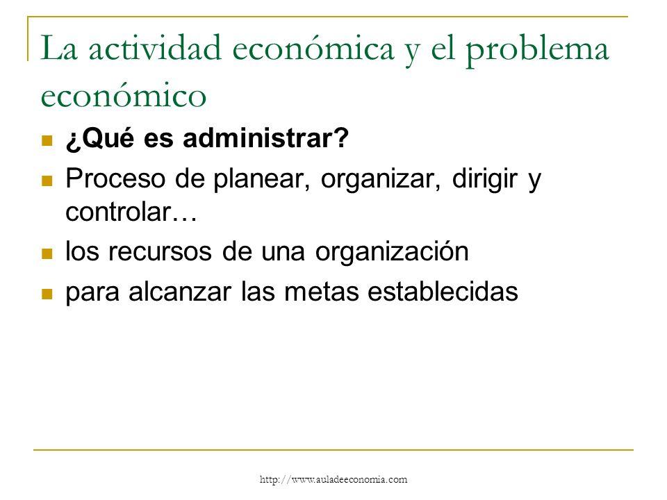 http://www.auladeeconomia.com La actividad económica y el problema económico ¿Qué es administrar? Proceso de planear, organizar, dirigir y controlar…
