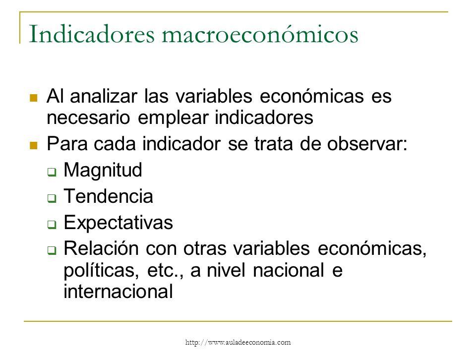 http://www.auladeeconomia.com Indicadores macroeconómicos Al analizar las variables económicas es necesario emplear indicadores Para cada indicador se