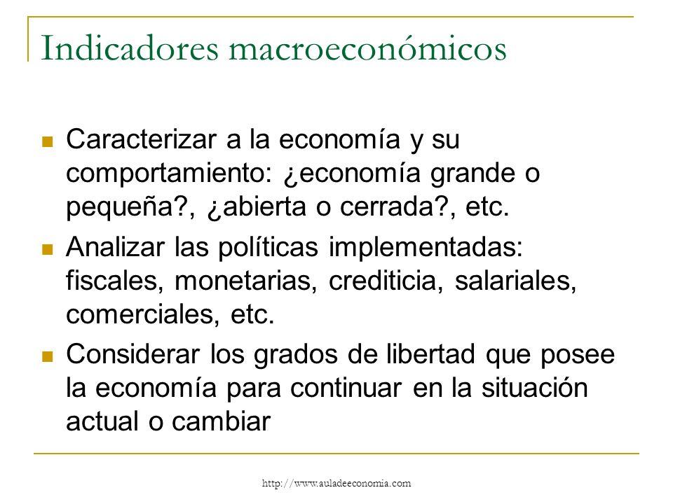 http://www.auladeeconomia.com Indicadores macroeconómicos Caracterizar a la economía y su comportamiento: ¿economía grande o pequeña?, ¿abierta o cerr