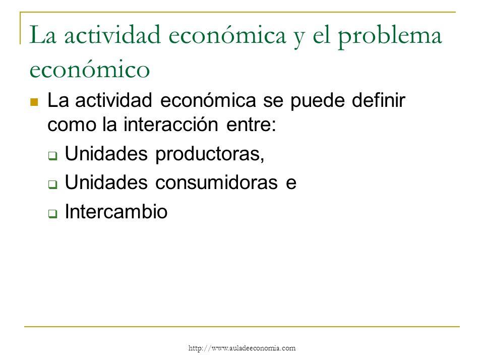 La actividad económica y el problema económico La actividad económica se puede definir como la interacción entre: Unidades productoras, Unidades consu
