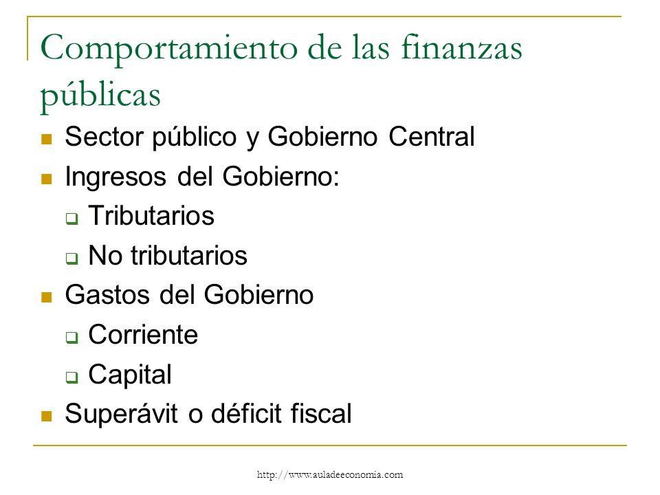 http://www.auladeeconomia.com Comportamiento de las finanzas públicas Sector público y Gobierno Central Ingresos del Gobierno: Tributarios No tributar