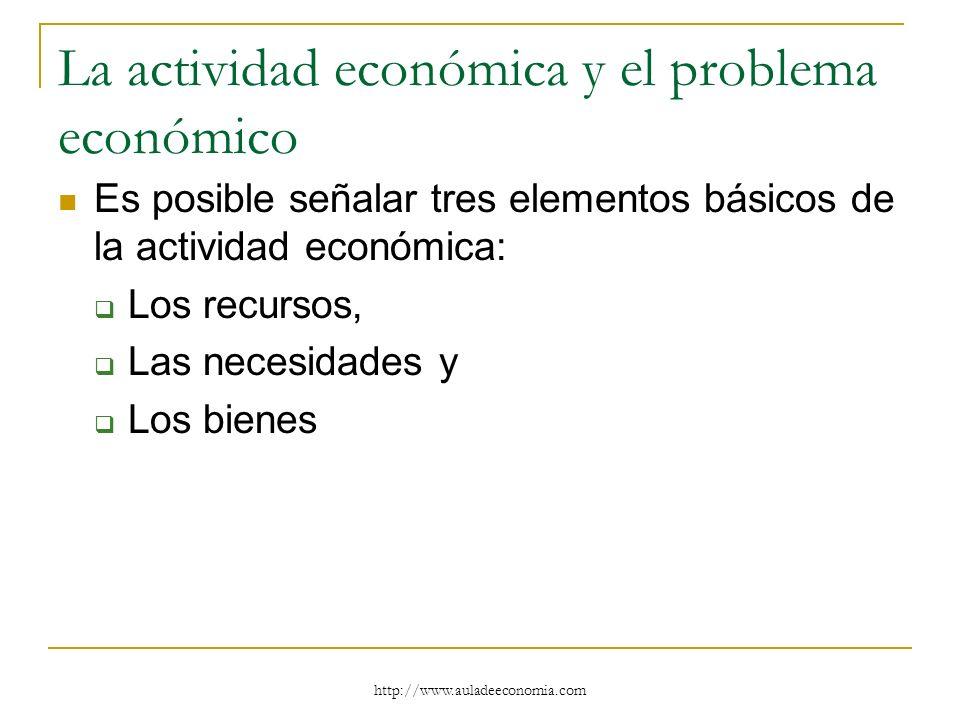 http://www.auladeeconomia.com La actividad económica y el problema económico Es posible señalar tres elementos básicos de la actividad económica: Los