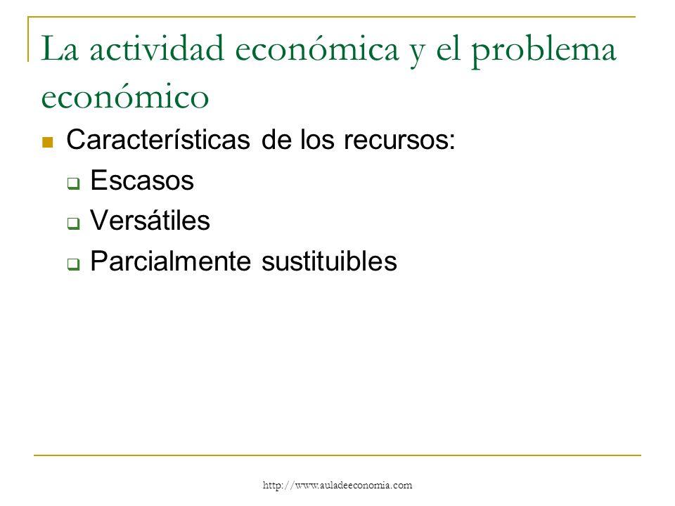 http://www.auladeeconomia.com La actividad económica y el problema económico Características de los recursos: Escasos Versátiles Parcialmente sustitui