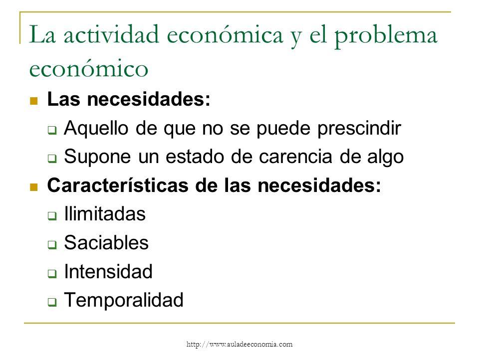 http://www.auladeeconomia.com La actividad económica y el problema económico Las necesidades: Aquello de que no se puede prescindir Supone un estado d