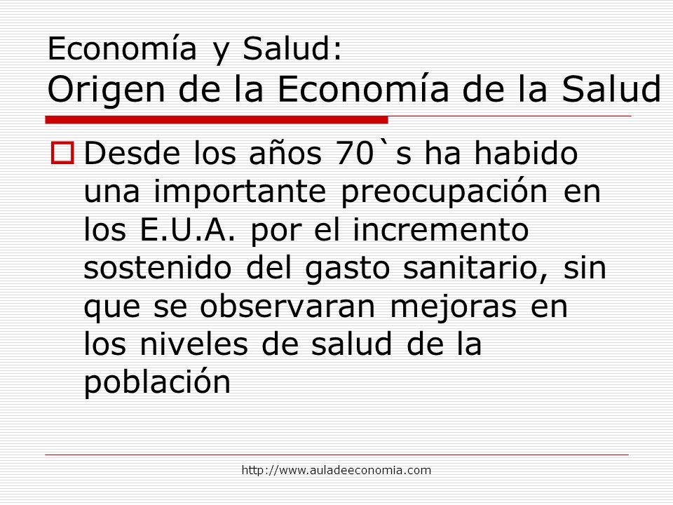 http://www.auladeeconomia.com Economía y Salud: Origen de la Economía de la Salud Desde los años 70`s ha habido una importante preocupación en los E.U
