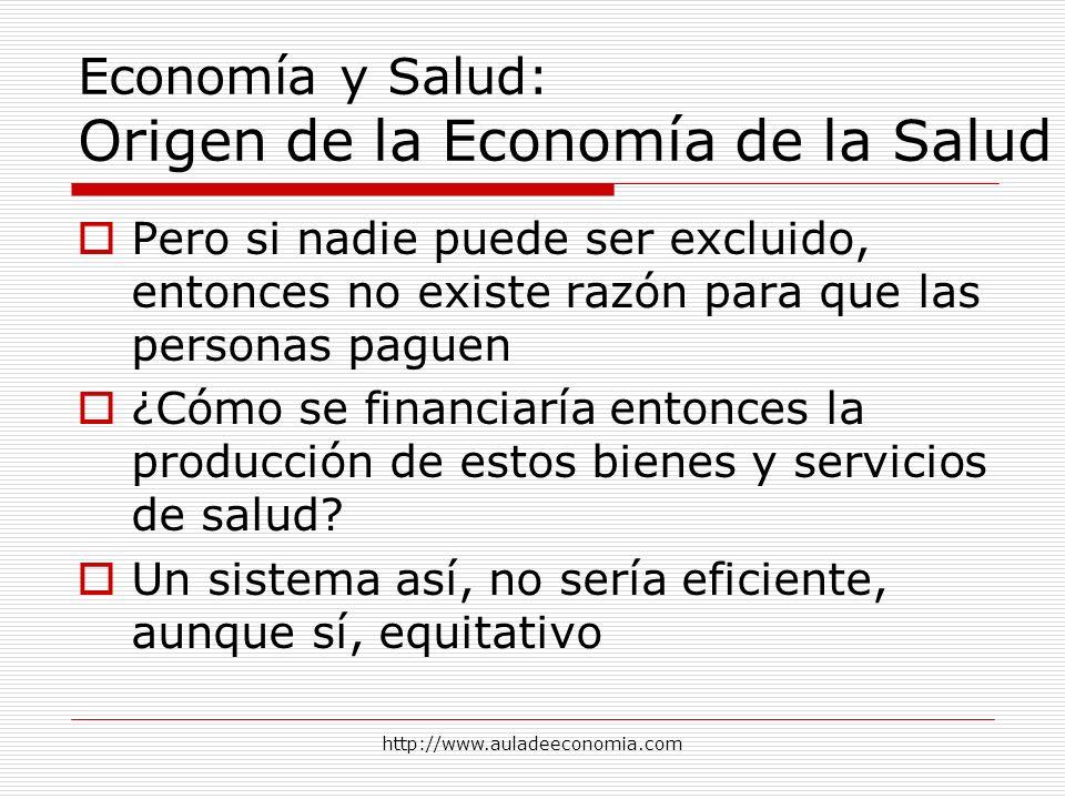 http://www.auladeeconomia.com Economía y Salud: Origen de la Economía de la Salud Pero si nadie puede ser excluido, entonces no existe razón para que