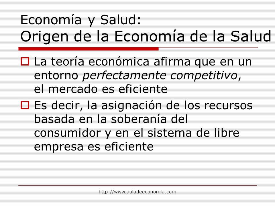 http://www.auladeeconomia.com Economía y Salud: Origen de la Economía de la Salud La teoría económica afirma que en un entorno perfectamente competiti