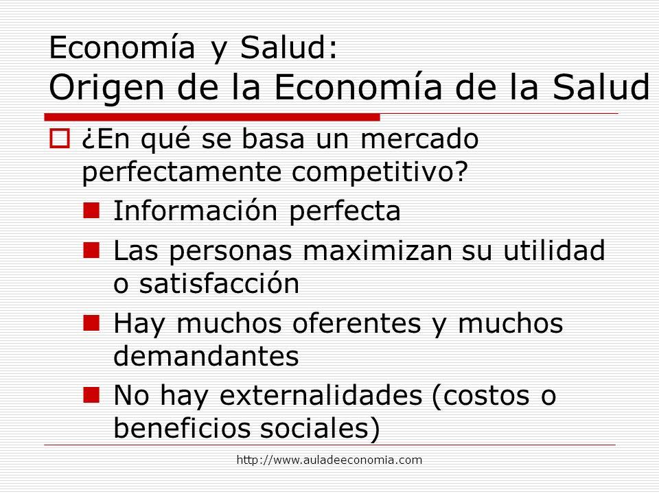 http://www.auladeeconomia.com Economía y Salud: Origen de la Economía de la Salud ¿En qué se basa un mercado perfectamente competitivo? Información pe