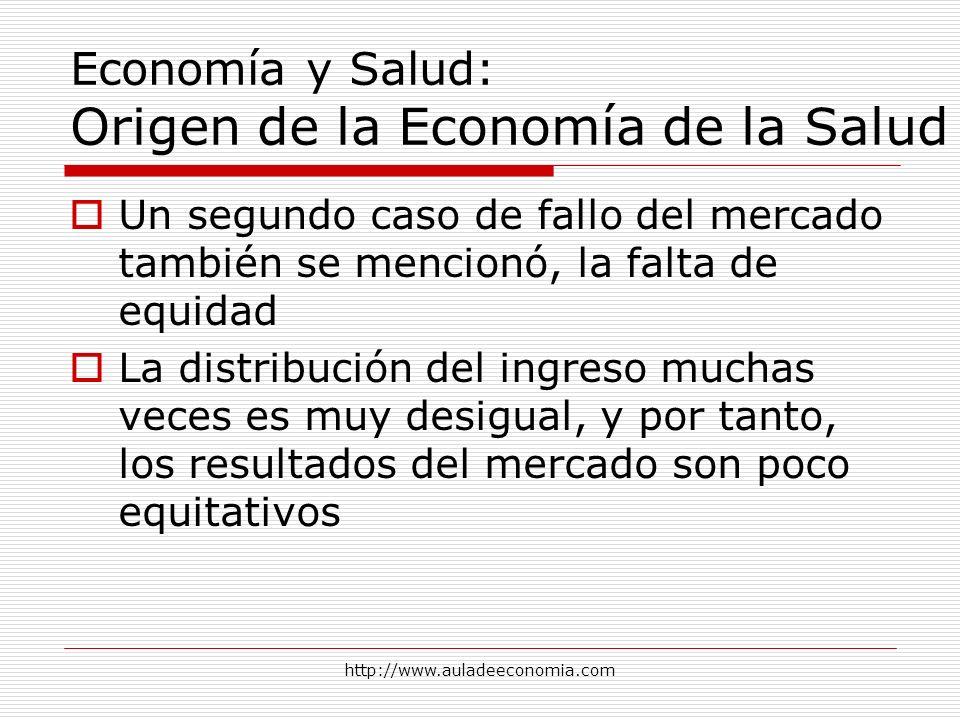 http://www.auladeeconomia.com Economía y Salud: Origen de la Economía de la Salud Un segundo caso de fallo del mercado también se mencionó, la falta d