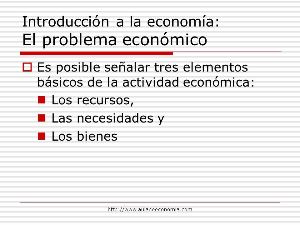 http://www.auladeeconomia.com Introducción a la economía: El problema económico Es posible señalar tres elementos básicos de la actividad económica: L