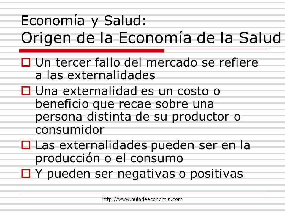 http://www.auladeeconomia.com Economía y Salud: Origen de la Economía de la Salud Un tercer fallo del mercado se refiere a las externalidades Una exte