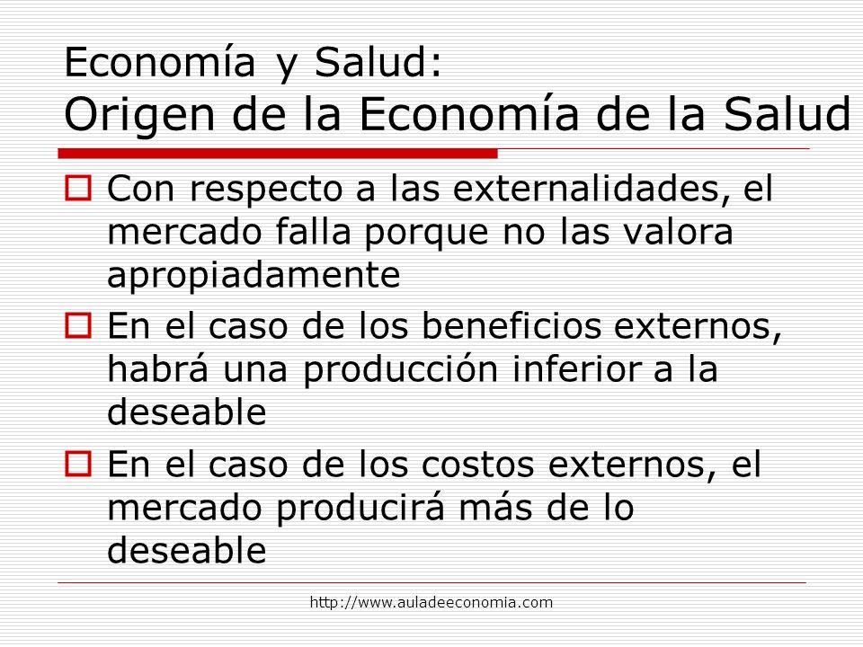 http://www.auladeeconomia.com Economía y Salud: Origen de la Economía de la Salud Con respecto a las externalidades, el mercado falla porque no las va