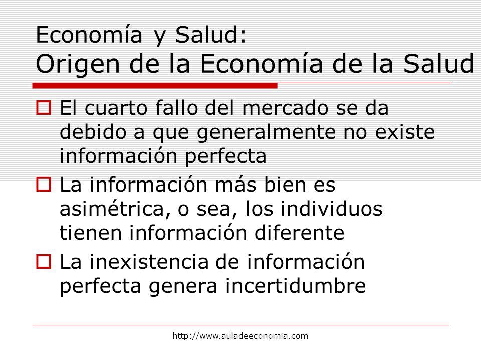 http://www.auladeeconomia.com Economía y Salud: Origen de la Economía de la Salud El cuarto fallo del mercado se da debido a que generalmente no exist