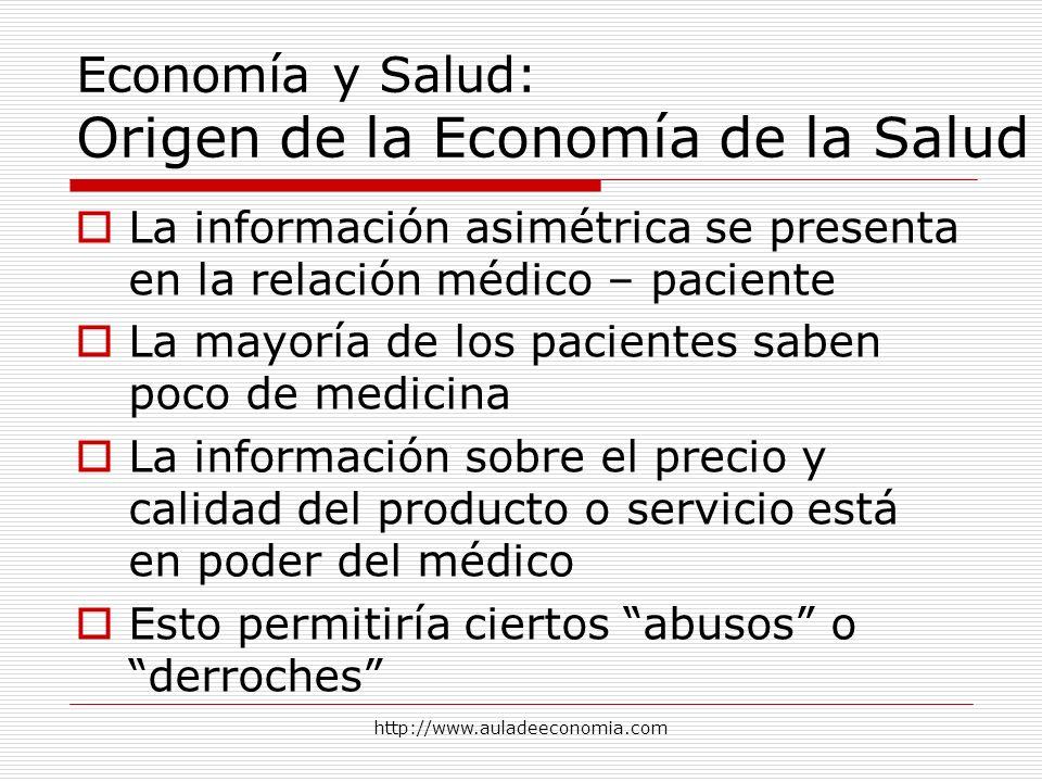 http://www.auladeeconomia.com Economía y Salud: Origen de la Economía de la Salud La información asimétrica se presenta en la relación médico – pacien