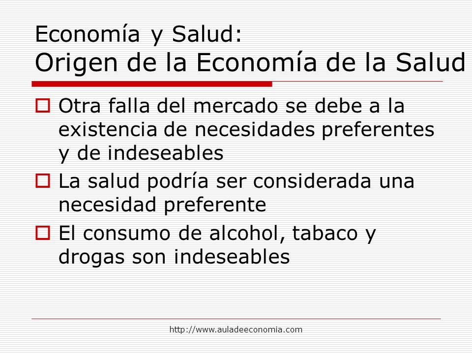 http://www.auladeeconomia.com Economía y Salud: Origen de la Economía de la Salud Otra falla del mercado se debe a la existencia de necesidades prefer