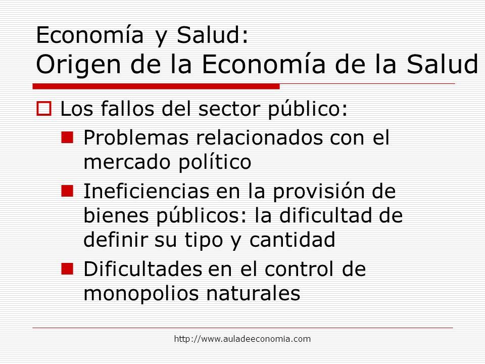 http://www.auladeeconomia.com Economía y Salud: Origen de la Economía de la Salud Los fallos del sector público: Problemas relacionados con el mercado