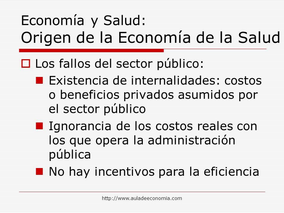 http://www.auladeeconomia.com Economía y Salud: Origen de la Economía de la Salud Los fallos del sector público: Existencia de internalidades: costos
