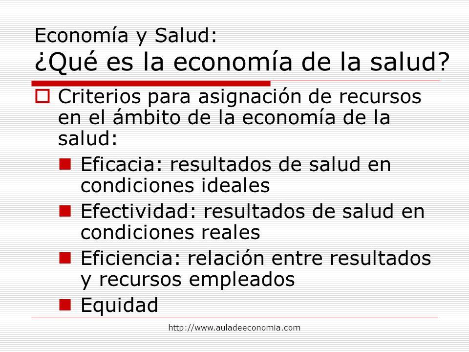 http://www.auladeeconomia.com Economía y Salud: ¿Qué es la economía de la salud? Criterios para asignación de recursos en el ámbito de la economía de