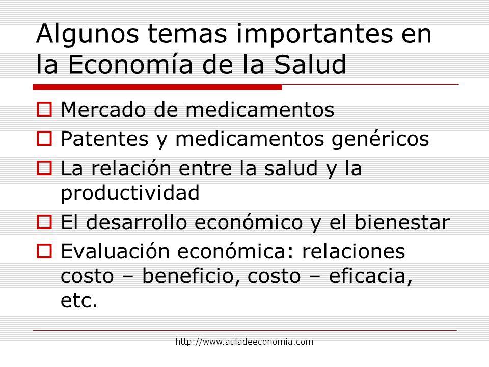 http://www.auladeeconomia.com Algunos temas importantes en la Economía de la Salud Mercado de medicamentos Patentes y medicamentos genéricos La relaci