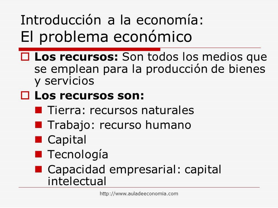 http://www.auladeeconomia.com Introducción a la economía: El problema económico Los recursos: Son todos los medios que se emplean para la producción d