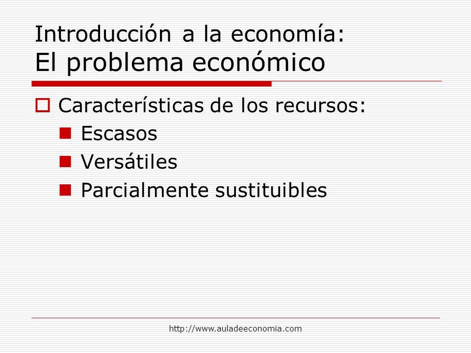 http://www.auladeeconomia.com Introducción a la economía: El problema económico Características de los recursos: Escasos Versátiles Parcialmente susti