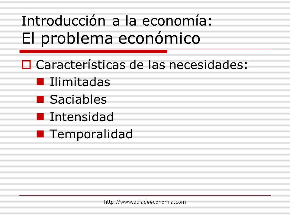 http://www.auladeeconomia.com Introducción a la economía: El problema económico Características de las necesidades: Ilimitadas Saciables Intensidad Te
