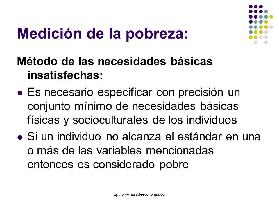 http://www.auladeeconomia.com Medición de la pobreza: Método de las necesidades básicas insatisfechas: Es necesario especificar con precisión un conju
