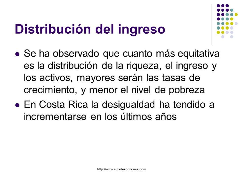http://www.auladeeconomia.com Distribución del ingreso Se ha observado que cuanto más equitativa es la distribución de la riqueza, el ingreso y los ac