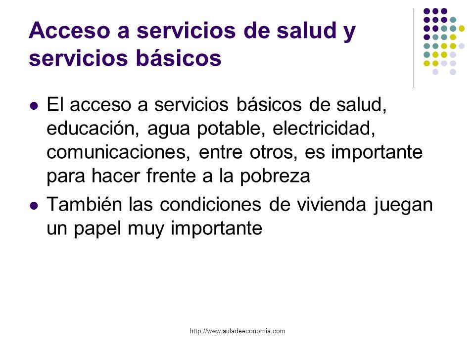 http://www.auladeeconomia.com Acceso a servicios de salud y servicios básicos El acceso a servicios básicos de salud, educación, agua potable, electri