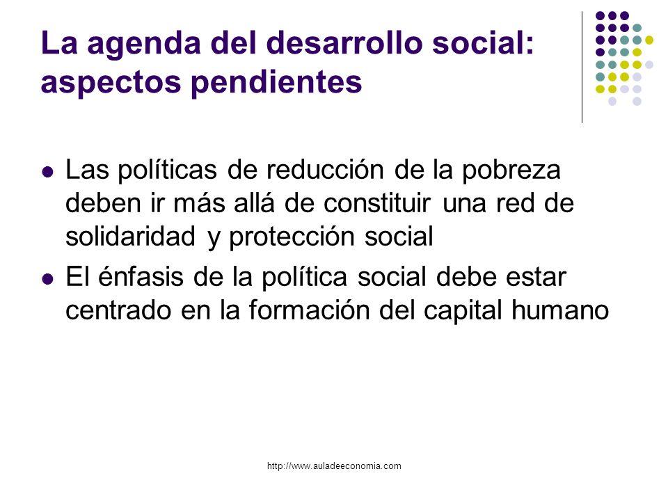 http://www.auladeeconomia.com La agenda del desarrollo social: aspectos pendientes Las políticas de reducción de la pobreza deben ir más allá de const