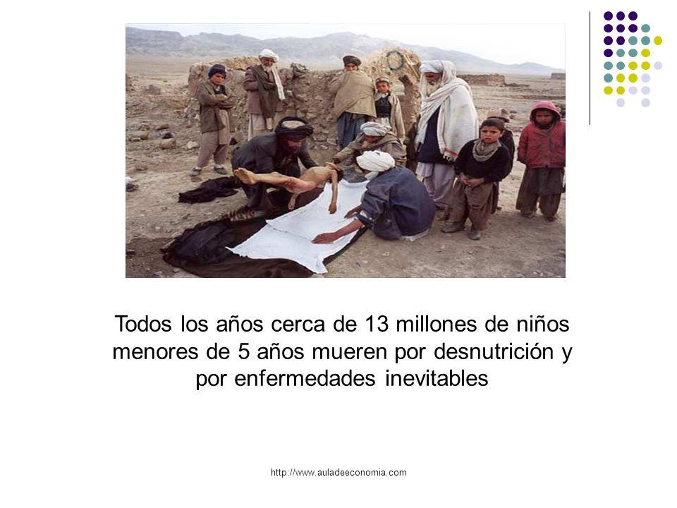 http://www.auladeeconomia.com Todos los años cerca de 13 millones de niños menores de 5 años mueren por desnutrición y por enfermedades inevitables