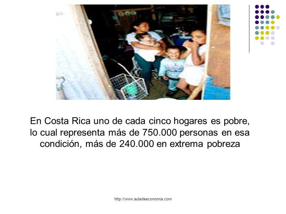 http://www.auladeeconomia.com En Costa Rica uno de cada cinco hogares es pobre, lo cual representa más de 750.000 personas en esa condición, más de 24