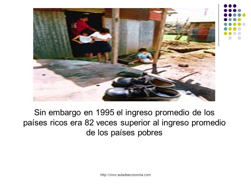 http://www.auladeeconomia.com Sin embargo en 1995 el ingreso promedio de los países ricos era 82 veces superior al ingreso promedio de los países pobr