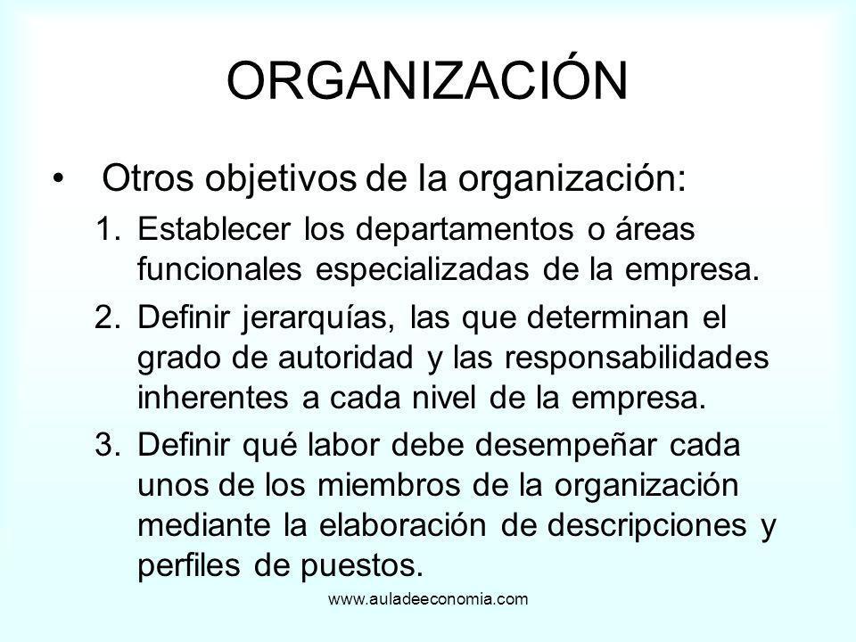 www.auladeeconomia.com ORGANIZACIÓN Otros objetivos de la organización: 1.Establecer los departamentos o áreas funcionales especializadas de la empres