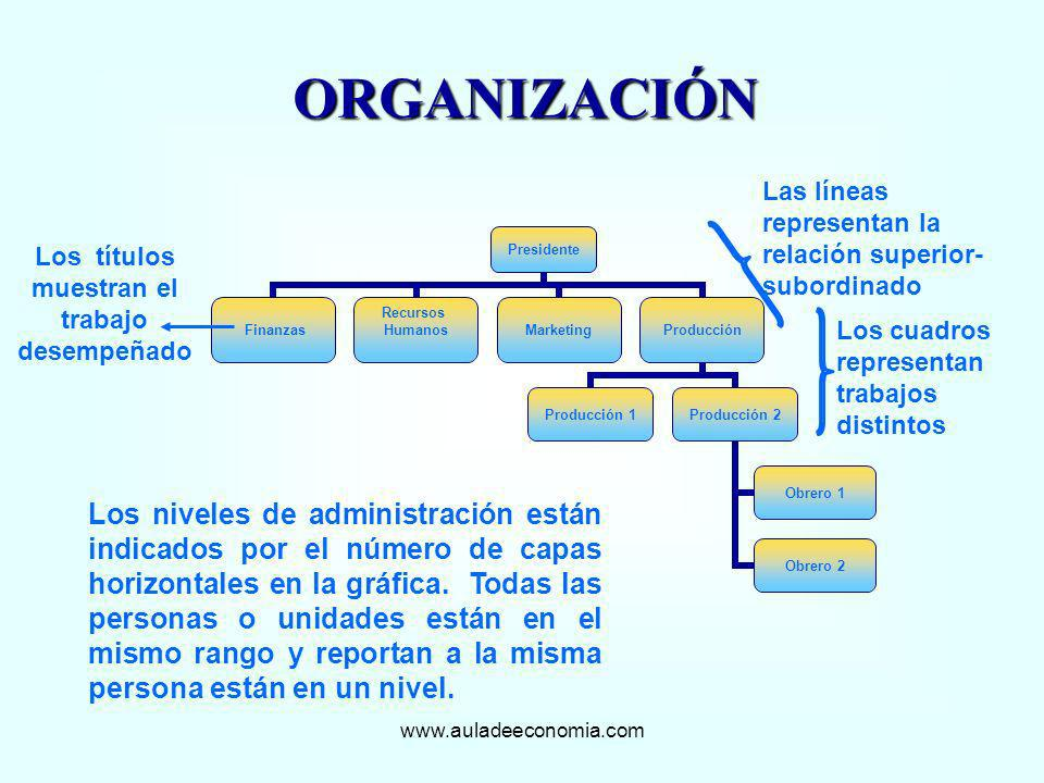 www.auladeeconomia.com ORGANIZACIÓN Los cuadros representan trabajos distintos Los títulos muestran el trabajo desempeñado Las líneas representan la r