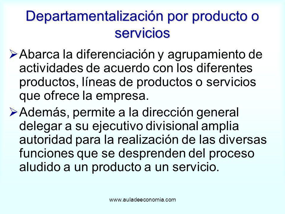www.auladeeconomia.com Abarca la diferenciación y agrupamiento de actividades de acuerdo con los diferentes productos, líneas de productos o servicios