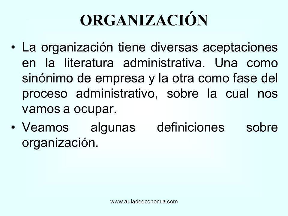 La organización tiene diversas aceptaciones en la literatura administrativa. Una como sinónimo de empresa y la otra como fase del proceso administrati