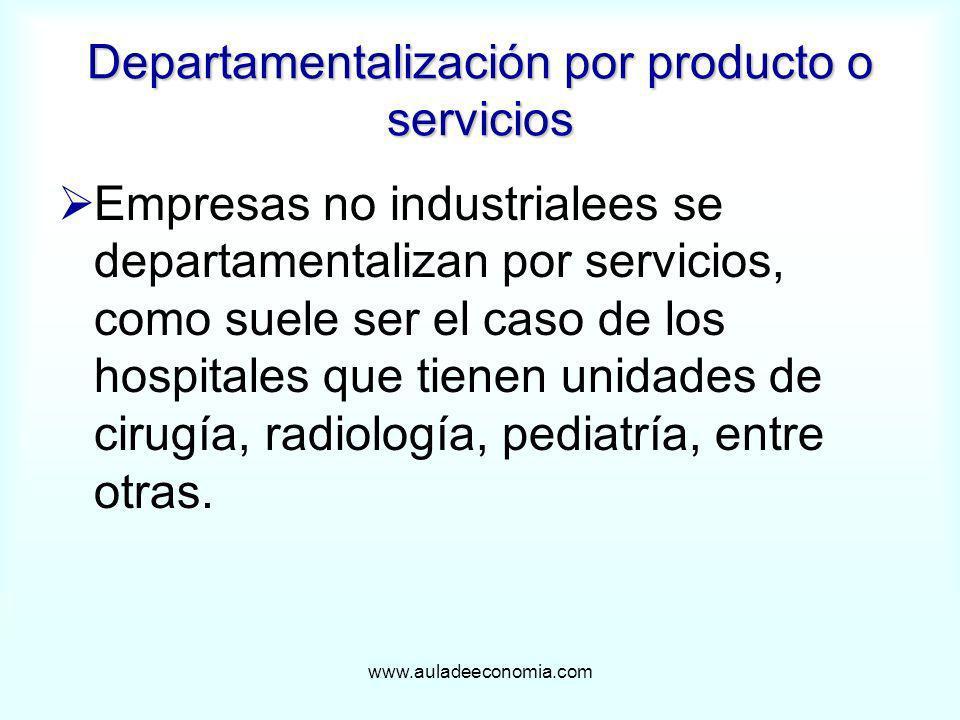www.auladeeconomia.com Departamentalización por producto o servicios Empresas no industrialees se departamentalizan por servicios, como suele ser el c