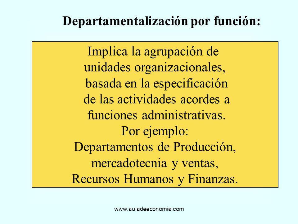 www.auladeeconomia.com Departamentalización por función: Implica la agrupación de unidades organizacionales, basada en la especificación de las activi