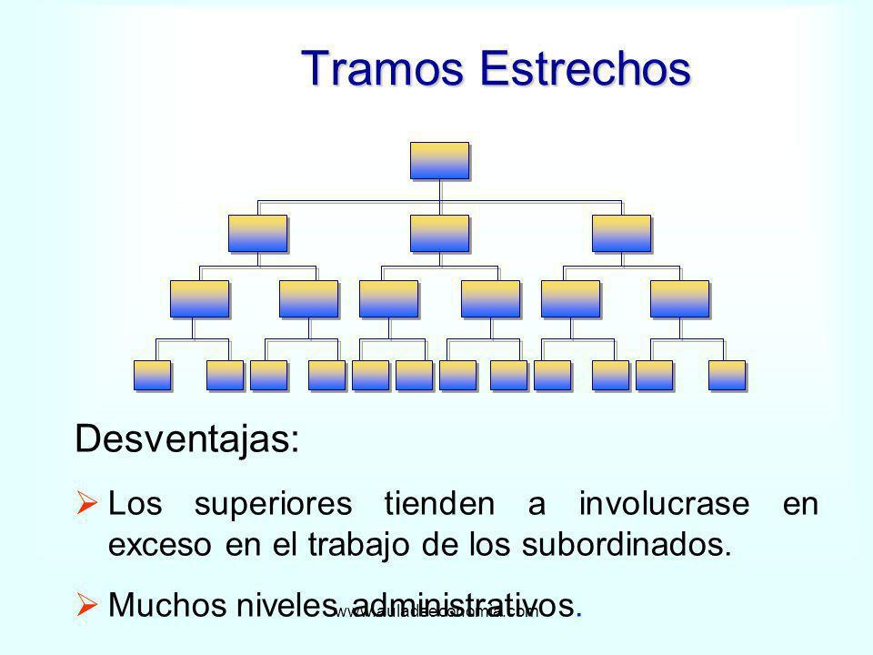 www.auladeeconomia.com Tramos Estrechos Desventajas: Los superiores tienden a involucrase en exceso en el trabajo de los subordinados. Muchos niveles