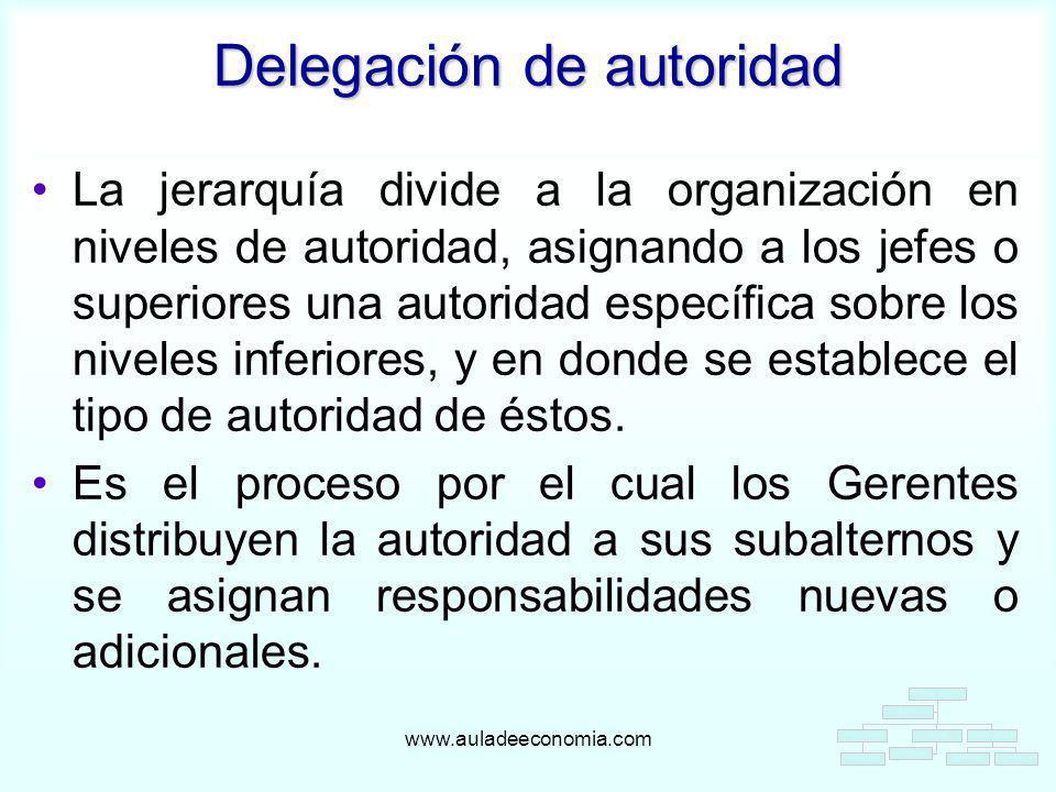 www.auladeeconomia.com La jerarquía divide a la organización en niveles de autoridad, asignando a los jefes o superiores una autoridad específica sobr