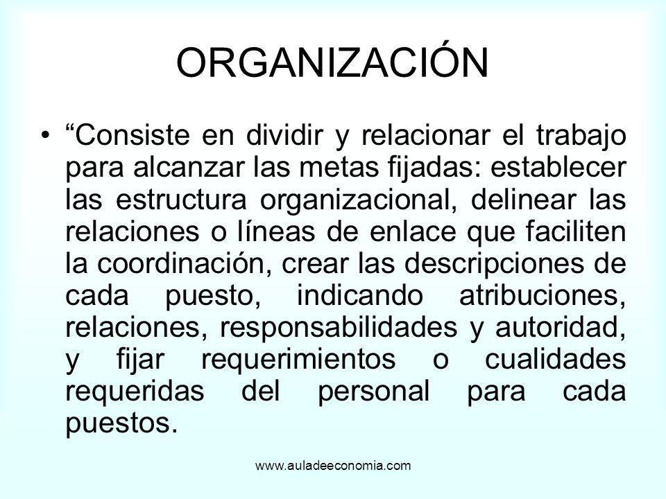 www.auladeeconomia.com ORGANIZACIÓN Consiste en dividir y relacionar el trabajo para alcanzar las metas fijadas: establecer las estructura organizacio